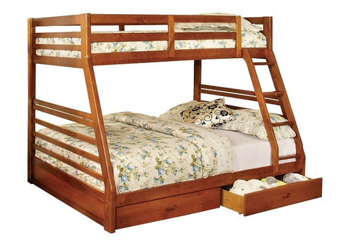 Gaines Oak Twin over Full Bunk Bed with Storage