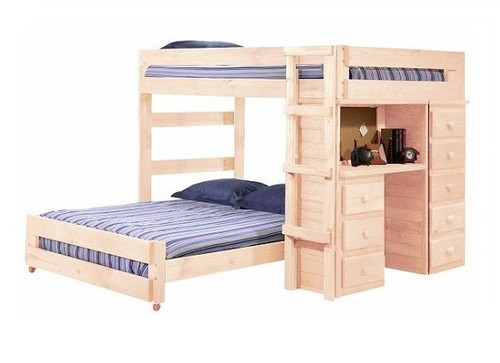 Henderson Unfinished Full XL over Full XL Loft Bed with Desk and Storage