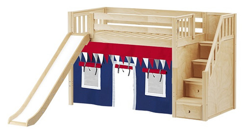 Mayor's Natural Fort Slide Loft Bed with Stairs