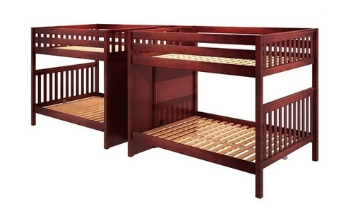 Melrose Chestnut Quadruple Queen Bunk Bed with Stairs