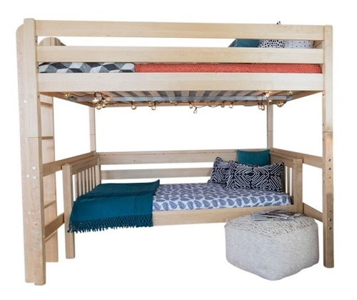 Becks Natural Queen Loft Bed with Daybed