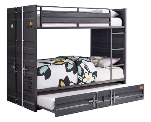 Shipping Container Twin Gray Metal Bunk Beds