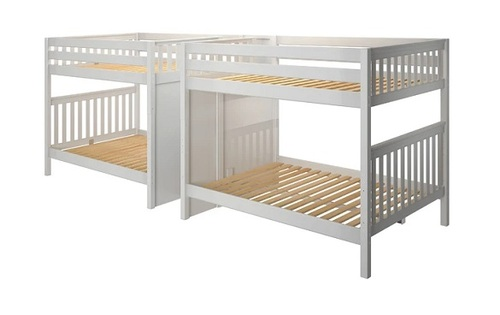 Melrose White Quadruple Queen Bunk Bed with Stairs