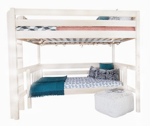 Crystal White Loft Bed with Daybed