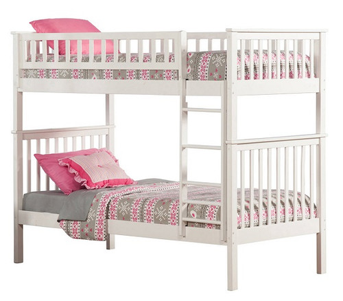 Cara White Twin over Twin Bunk Beds