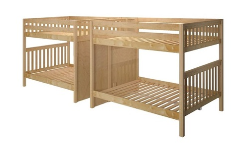 Melrose Natural Quadruple Queen Bunk Bed with Stairs