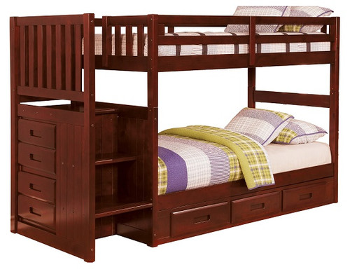 Ferguson Brown Cherry Twin over Full Bunk Beds with Stairs