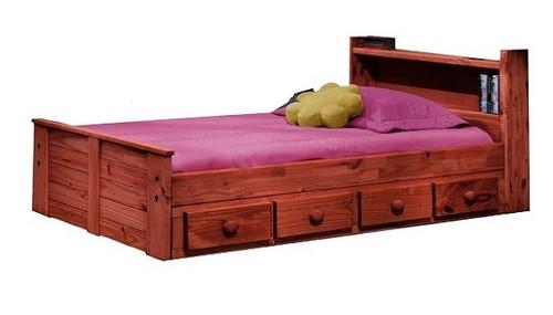 Duke Mahogany Low Extra Long Bookcase Bed