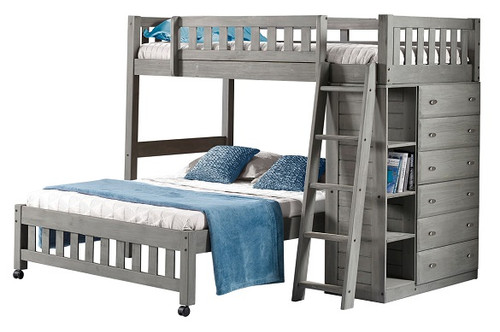 Mercer Chimney Gray Twin over Full L Shaped Bunk Bed