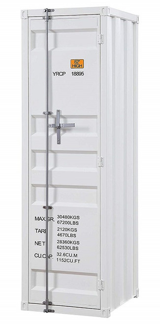Shipping Container White Metal Wardrobe