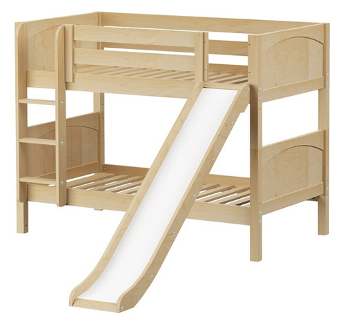 Most Fun Natural Twin Size Low Bunk Bed with Slide