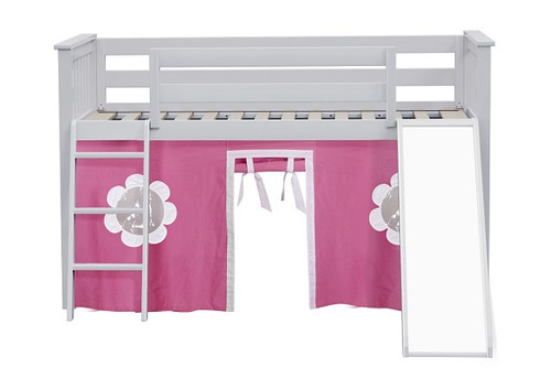 Bonnie White Loft Bed with Slide with Hot Pink and White curtains