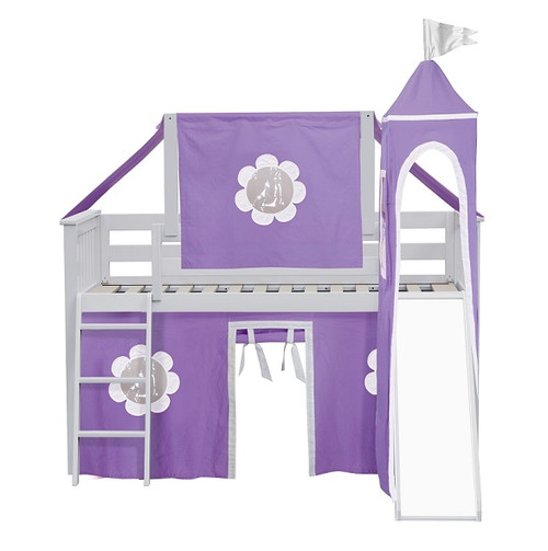 Bonnie White Castle Bed with purple and white curtains