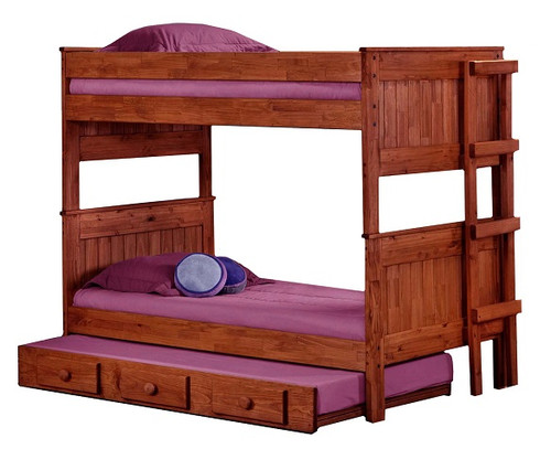 Duke Mahogany Rustic Bunk Beds twin over twin size