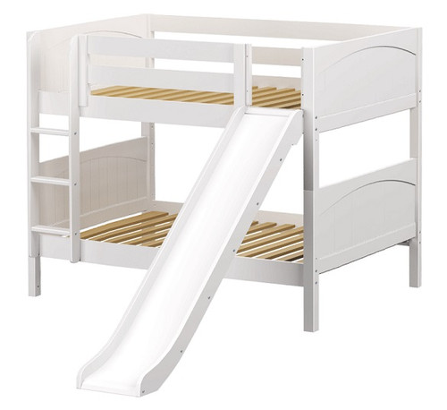 Most Fun White Twin Size Low Bunk Bed with Slide