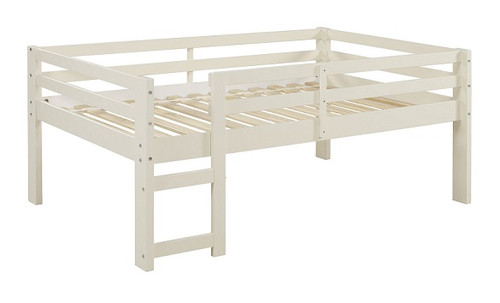 Hazel White Twin Size Low Toddler Loft Bed left angle view