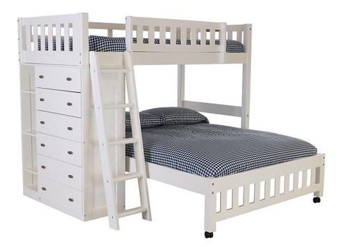 Matslen White Twin over Full L Shaped Loft Bed