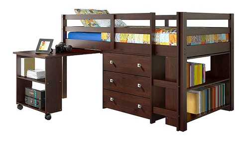 Langston Cappuccino Low Loft Bed with Desk