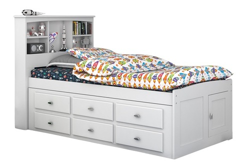 Matslen White Bookcase Twin Captains Bed