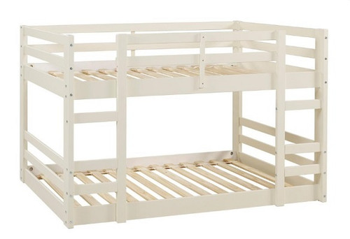 Hazel White Twin Size Low Bunk Beds for Kids no bedding