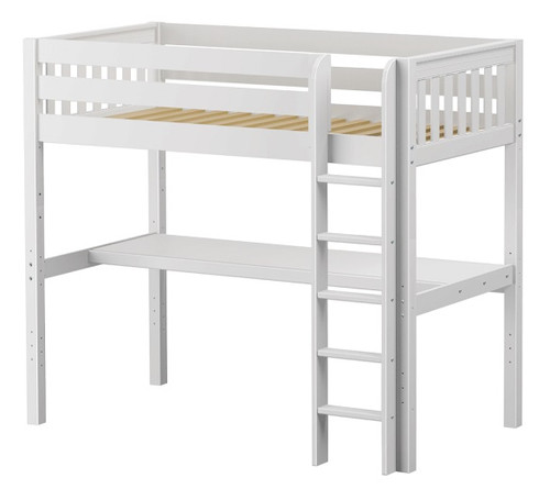 Cape May White Twin Loft Bed with Desk