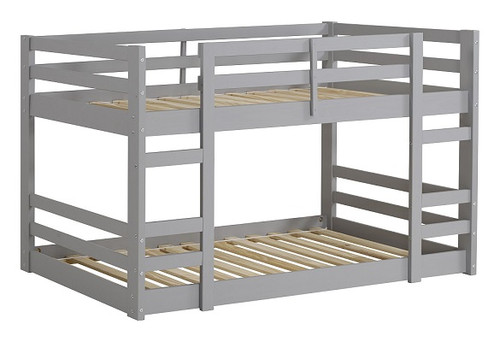 Noah Grey Twin Size Low Bunk Beds for Kids no bedding angle view