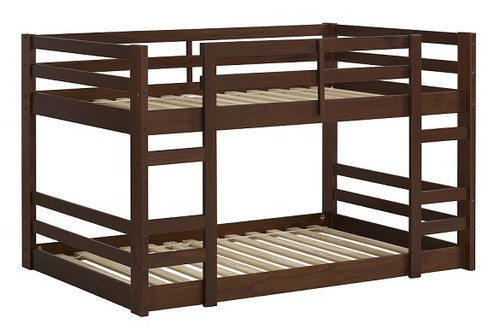 Eldon Walnut Twin Size Low Bunk Beds for Kids no bedding