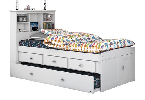 Matslen White Bookcase Twin Captains Bed with Trundle