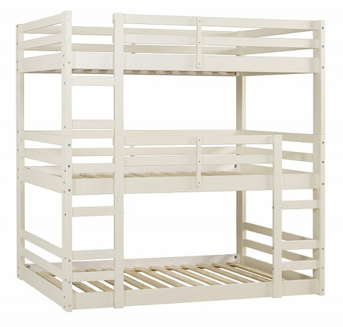 Hazel White Twin 3 Bed Bunk Bed left angle view