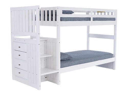 Matslen White Twin Bunk Beds with Stairs
