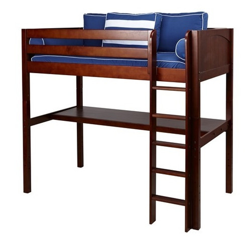 Previn Chestnut Twin Loft Bed with Desk