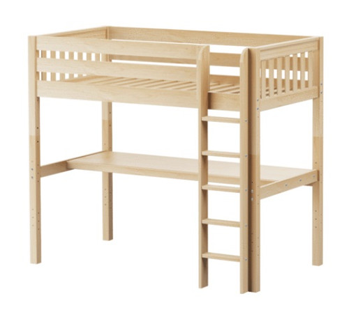 Guthrie Natural Twin Loft Bed with Desk