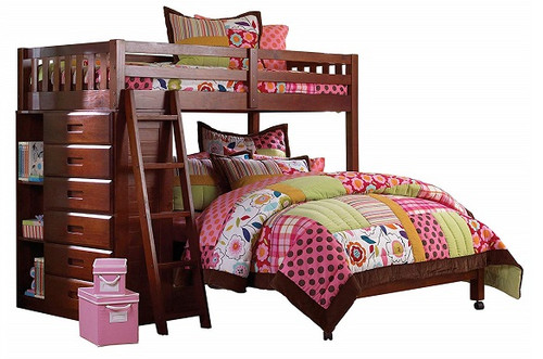 Ferguson Brown Cherry Twin over Full L Shaped Bunk Bed