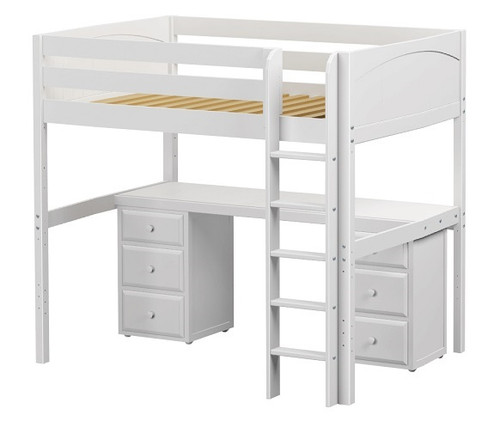 Cape May White Twin Loft Bed with Desk and Storage