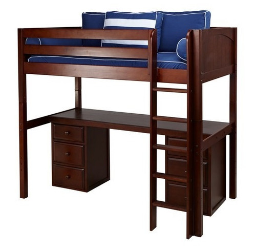 Previn Chestnut Twin Loft Bed with Desk and Storage