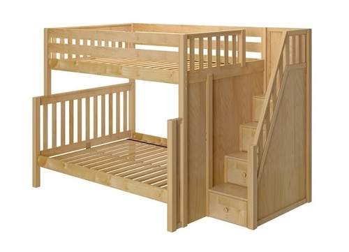 Arthur Natural Full over Queen Bunk Bed with Stairs