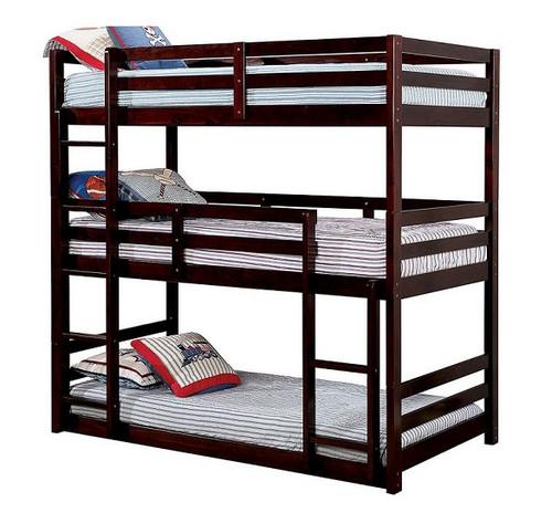 Seymore Dark Walnut 3 Bed Bunk Bed