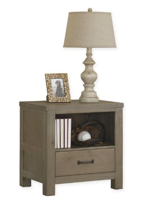 Crosspointe Driftwood 1 Drawer Nightstand with lamp and picture frame