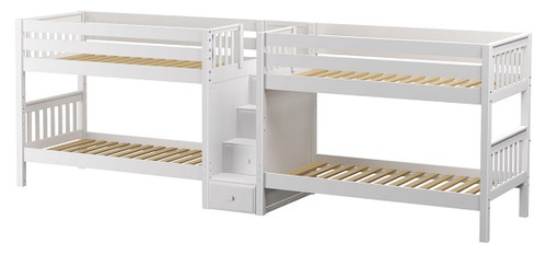 Melrose White Twin Size Quadruple Bunk Bed with Stairs