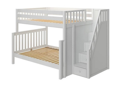 Arthur White Full over Queen Bunk Bed with Stairs