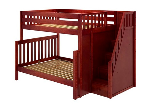 Arthur Chestnut Full over Queen Bunk Bed with Stairs