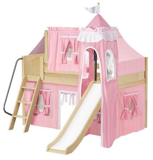 Sleeping Beauty Natural Low Girls Twin Princess Loft Bed