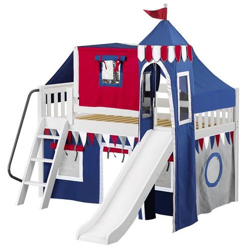 Frankie's White Boys Castle Loft Bed with Slide