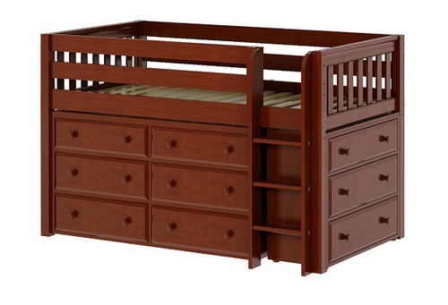 Caleb's Chestnut Twin Low Loft Bed with Storage