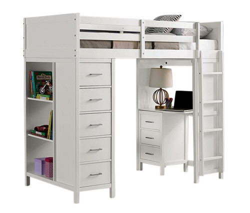 Haley White Loft Bed with Desk and Storage