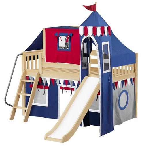 Frankie's Natural Boys Castle Loft Bed with Slide
