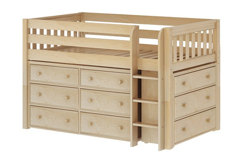 Caleb's Natural Twin Low Loft Bed with Storage