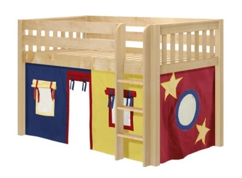 Pablo's Natural Twin Size Low Playhouse Loft Bed