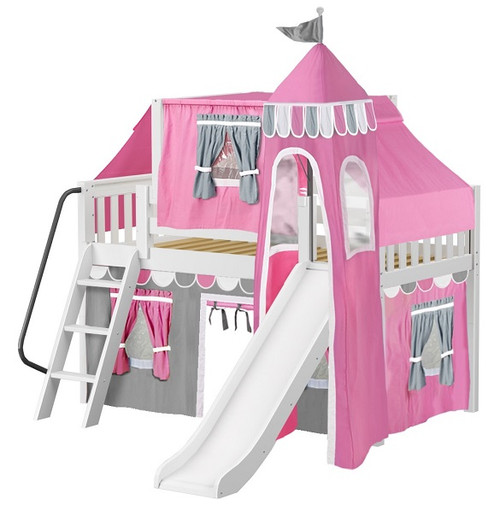 Anastasia's White Twin Girls Castle Loft Bed with Slide-Slatted Ends