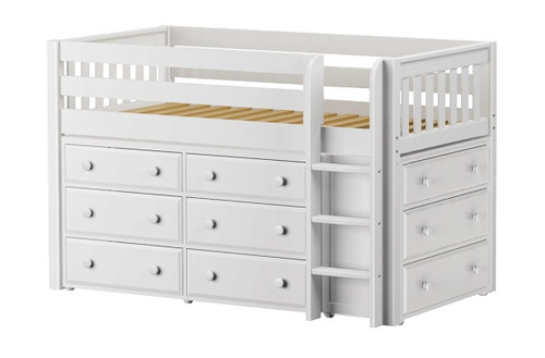 Caleb's White Twin Low Loft Bed with Storage